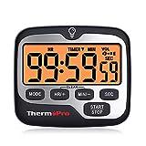 ThermoPro TM01 Temporizador de Cocina Digital con Cuenta Regresiva y Cronómetro Reloj Temporizador Magnético con Alarma Sonora Ajustable y Pantalla LCD Gran Retroiluminación