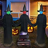 ORIENTAL CHERRY Halloween Decorations Outdoor - Light Up Holding Hands Screaming Witches Sound-Activated Sensor (Set of 3) - Life Size Decor for Home Outside Yard Garden Party