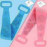 2PCS Esponja Exfoliante Corporal,Silicona Cepillo Ducha Espalda,Aplicador Crema Espalda,Esponja de Baño de Doble Cara Con Partículas de Masaje (73cm,Rosa+azul)