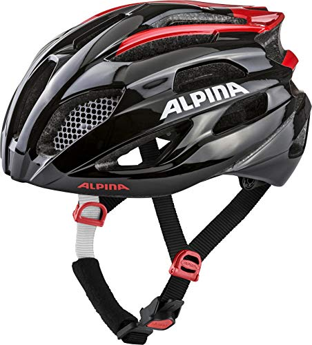 ALPINA FEDAIA Fahrradhelm, Unisex– Erwachsene, black-red, 58-63