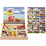 rompecabezas para los niños divertidos Puzzles de DIY creativo Imán libro magnético estéreo 3D pegatinas Troup Vehículo automóvil de juguete Educación Temprana Circo