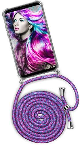 ONEFLOW® Handykette + Hülle passend für Samsung Galaxy S9 Plus | Stylische Kordel Kette - Kristallklare Handyhülle mit Band zum Umhängen in Einhorn Lila Pink