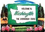Washington State Welcome Sign Wood Fridge Magnet 2