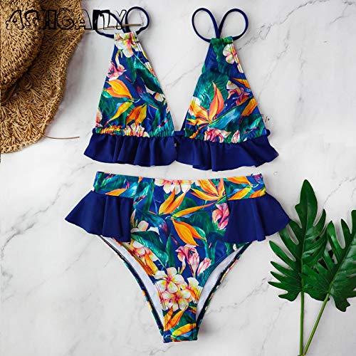 Traje de baño Imprimir Bikini Mujeres Traje De Baño Push Up Traje De Baño Cintura Alta Halter Sin Espalda Traje De Baño Ruffle Beach Wear Verano M Lx19329B1