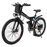 Profun Bicicleta Eléctrica Plegable con Rueda de 26 Pulgadas, Batería de Iones de Litio de Gran Capacidad (36 V 250 W), Suspensión Completa Calidad y Engranaje Shimano (Negro+Azul)