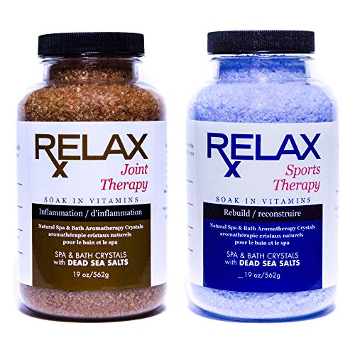 Relax Joint and Sports Best Aromatherapy Natural Dead Sea Bath Salts, 19 Ounce Bottles, Infused with Vitamins and Minerals for Soaking Aches and Pains, Safe for Hot Tub, Bath, and Whirlpool