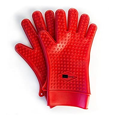 Domestic Corner - Heat Resistant Silicone BBQ Gloves - Great for BBQ, Grilling, Cooking, and Baking - 1 Pair