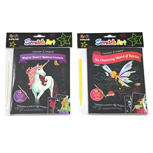 Lovyan 2Pcs Scratch Art Activity Books for Kids, Mythical Creatures and Fairies Theme Rainbow Scratch Off Images Set for Girls Boys Birthday Party Favor Game Christmas Toys Gift