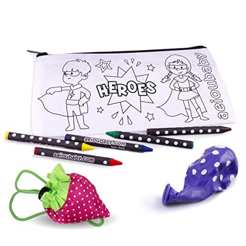 25 Estuches para Colorear + 1 Bolsa Reutilizable | 25 Bolsas Individuales con 5 Ceras de Colores y Globo | Regalo niños Fiestas y cumpleaños
