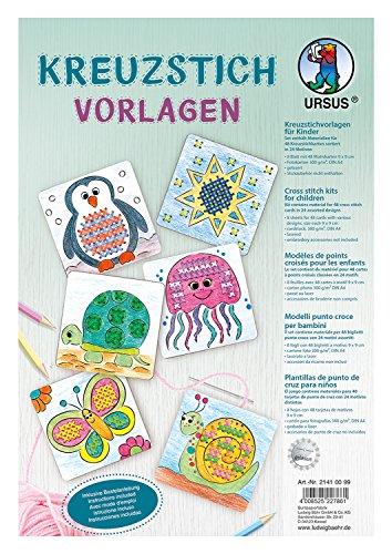 Ursus 21410099 Kreuzstichvorlagen für Kinder, 24 Verschiedene Motive