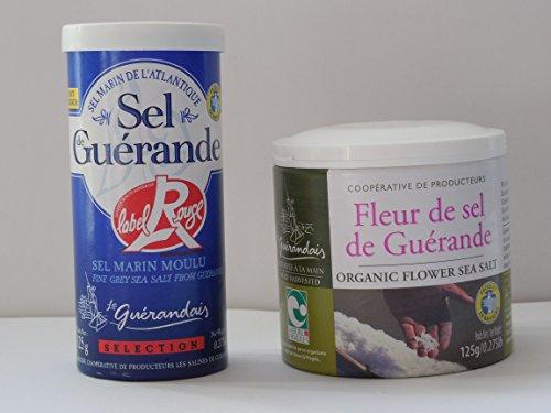 Fleur de sel (125g Dose) und feines Meersalz Sel fin Guérande Label rouge (125g Dose) (56EUR/kg) - vom hendel-versand