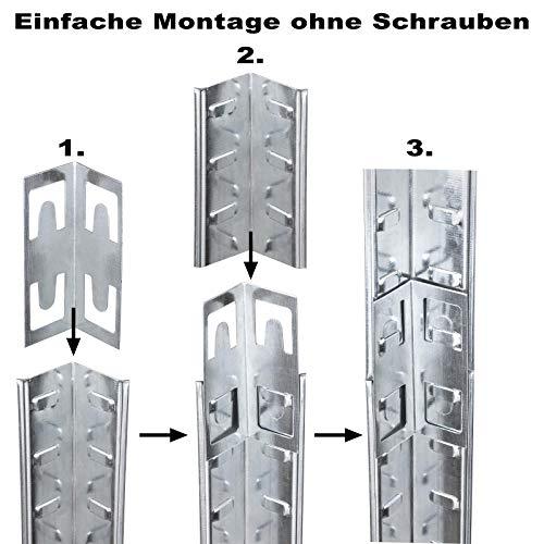 Doppelregal Steckregal Schwerlastregal Kellerregal 160 x 160 x 40cm - 3