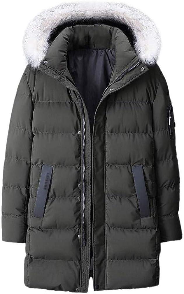 EISHOW Mens Warm Winter Cotton Casual Coat Loose Hooded Zipper Lightweight Jacket Parka Thicken Plus Size Outerwear L-9XL