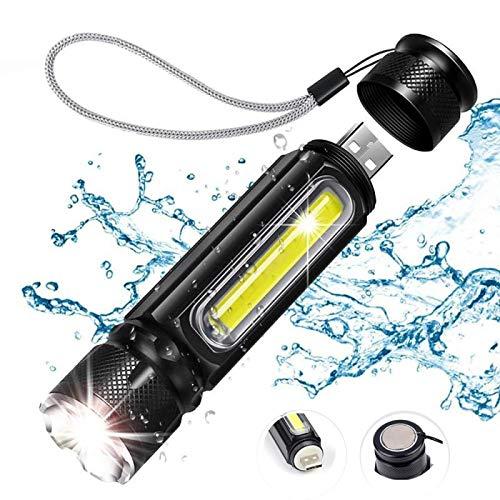 Linterna LED,Linternas Batería incorporada LED Linterna USB Recargable T6 COB antorcha Zoom Linterna Linterna atracción magnética Impermeable al Aire Libre PackageB