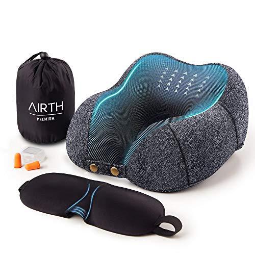 AIRTH® Reise-Nackenkissen Nackenhörnchen aus Memory-Foam, ergonomisches Reisekissen für Flugzeug, Auto, Zuhause und Büro | Deutsche Marke