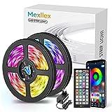 Luces LED 15m, Tiras LED RGB 5050, luz led Colores con Control Remoto y App control, luces led habitacion con micrófono incorporado sensible, Sincronización Musical
