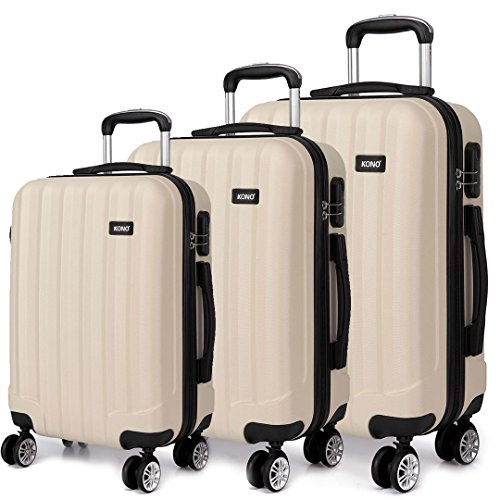 Kono Luggage Suitcase Hard Shell 4 Wheel Spinner Travel Luggage Set (1773 Beige 20'+24'+28')