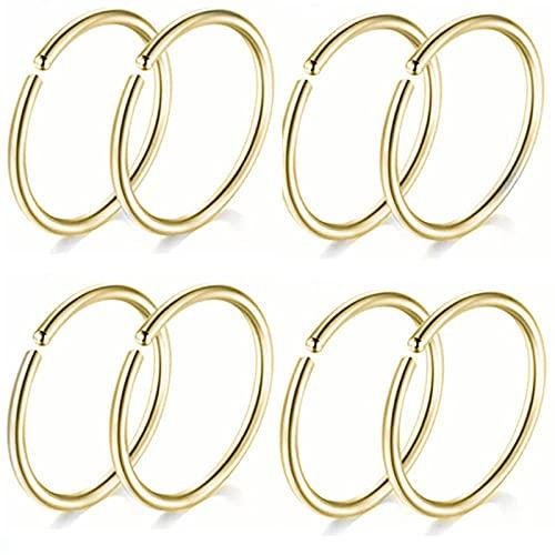 Piercing Nariz Aro 10 Unids Acero Inoxidable L Forma 20G Crystal Hoop Fijar Nariz Stud Big Piercing-Hoop1 Gold_10Piece