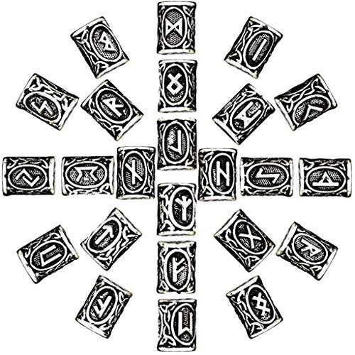 Wikinger Runen Haar Drache Bart Perle 24 Stück Nordische Bart Perlen Flechten Perlen Haar Zöpfe Ring Perlen Armbänder Anhänger Halskette Haarschlauch Dreadlocks Perlen Haar Flechten Haar Dekoration