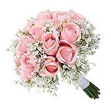 Liuxi Moderno Simulación Rose Ramos de Novia Novia con Flores - Flores de Rosas Artificiales Decoración de Bricolaje para el hogar Wdeeing
