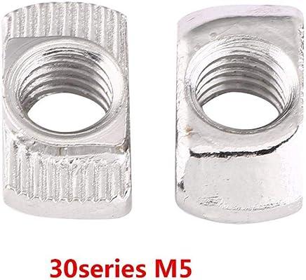 Akozon Tuerca en Forma de T 4 Dientes T Tuerca de Cuatro Puntas Zinc Plateado Acero Carbono para Muebles de Carpinter/ía M3(50pcs)