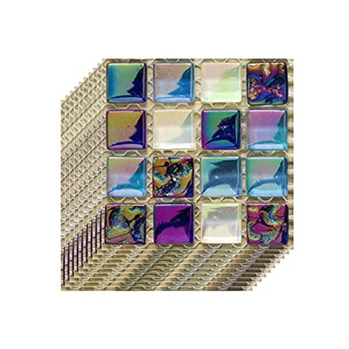 FAZA 10 adhesivos para azulejos de mosaico en 3D, autoadhesivos, resistentes al agua, adhesivos de pared para baño, cocina, decoración para el hogar, 10 x 10 cm