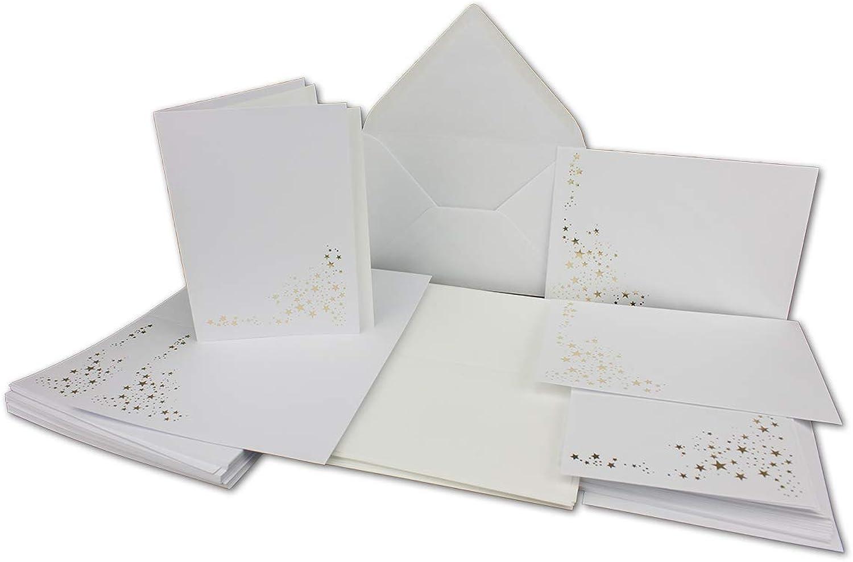 Weihnachts-Faltkarten-Set A6 mit Umschlägen Umschlägen Umschlägen C6 & Einlegern A6 Creme - Farbe  Hochweiß mit Goldenen Metallic Sternen 75 Sets NEUSER FarbenFroh B07LG447Y8 | Günstige  59a29c