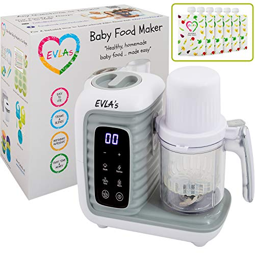 Baby Food Maker | Baby Food Processor Blender Grinder Steamer | Cooks & Blends Healthy Homemade Baby Food in Minutes | Self Cleans | Touch Screen Control | 6 Reusable Food Pouches (White Double)