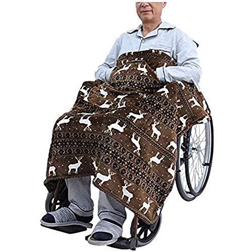 WANGXNCase Rollstuhldecke Winter,Rollstuhldecke Mit Zwei Taschen, Warme Doppelseitige Plüschhülle Für Rollstühle, Bein- Und Unterkörperhüllen