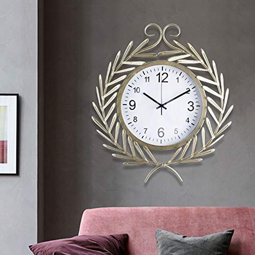 QCSMegy Reloj de pared decorativo de trigo marrón para sala de estar, decoración nórdica moderna, maquinaria para el hogar, 55 x 49 cm