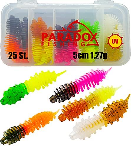 Paradox Fishing Forellenköder Gummi Set mit Box (25 St.) UV Forellenköder Gummi Gummiköder Forelle Forellen Angeln Spoon Set Forellenteig - Spoons Forelle (5,0cm - 1,27g)