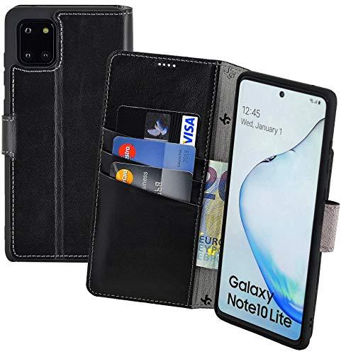 Suncase - Custodia a libro in pelle per Samsung Galaxy Note 10 Lite, con 3 scomparti per carte di credito, colore: Nero