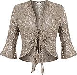 Fashion 4 Less Bolero para dama con lentejuelas y encaje floral, cinta para amarre de nudo, crop top, tallas grandes 12–26