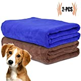 Dog Towel, Legendog 2 Pcs Microfiber Quick Drying Dog Bath Towel | Dog Drying Towels | Large Dog Towel for Dogs and Puppys | Blue and Grey 160*60 cm