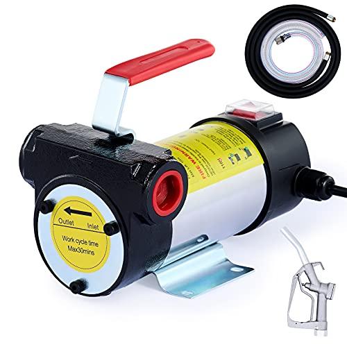 Orion Motor Tech Diesel Transfer Pump Kit, 12V DC Fuel Transfer Pump with Hose Nozzle for Transferring Diesel, Kerosene, Machine and Transformer Oil, Self-Priming 12 Volt Diesel Transfer Pump