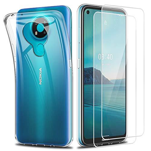 Reshias Cover per Nokia 3.4, Morbido Trasparente TPU Silicone Protettiva Custodia con Due Vetro Temperato Pellicola Protettiva per Nokia 3.4 6.39'