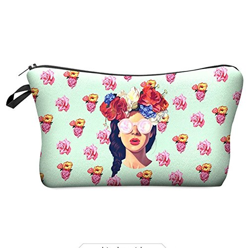 bigboba Mini 3d Printed Lady Trousse Crayon sacs de papeterie, porte-monnaie zippé Sac de rangement pour le voyage, 18 × 13.5 cm, fibre de polyester, A, 18×13.5cm