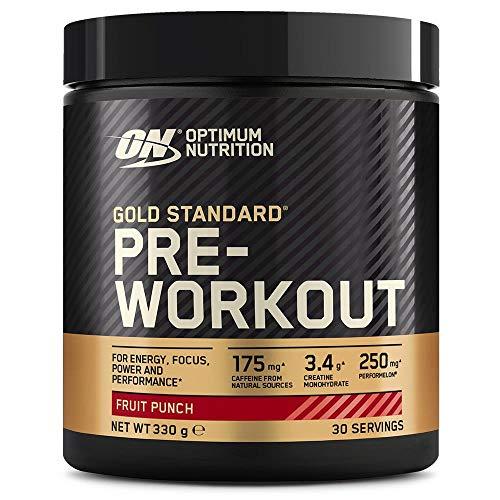 Optimum Nutrition Gold Standard Pre Workout en Polvo, Bebida Energética con Creatina Monohidratada, Beta Alanina, Cafeína y Vitamina B Complex, Fruit Punch, 30 Porciones, 330g, Embalaje Puede