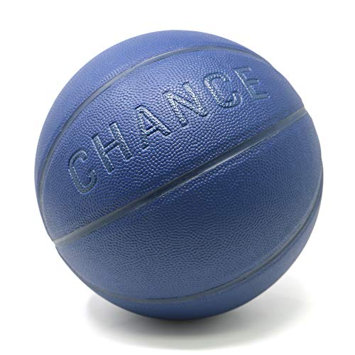 Chance Premium Indoor/Outdoor Basketball - Composite Leather (Sizes: 5 Youth, Size 6 WNBA Womens, Size 7 NCAA Mens, NBA Basketball Ball Size) (7 Men's Official - 29.5','Violet Navy Blue)