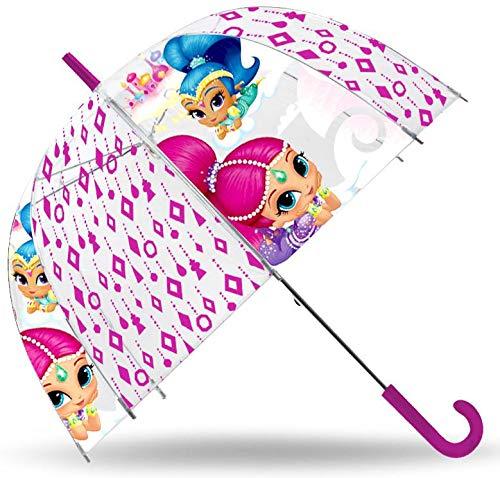 SHIMMER AND SHINE Paraguas Transparente 48cm Campana de Paraguas Clásico, 80 cm, Multicolor