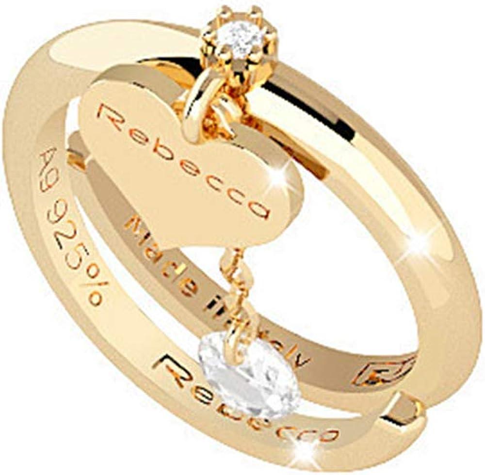 Rebecca anello per donna in argento placcato oro giallo e pietra bianca SLCAOB01