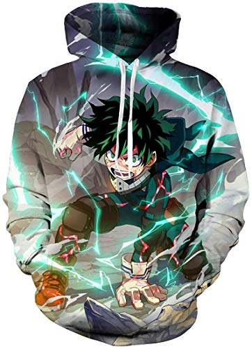 FLYCHEN Hombre Sudaderas con Capucha My Hero Academia Impresión 3D Manga Japonesa Todoroki Shoto All Might - Verde 01 - S