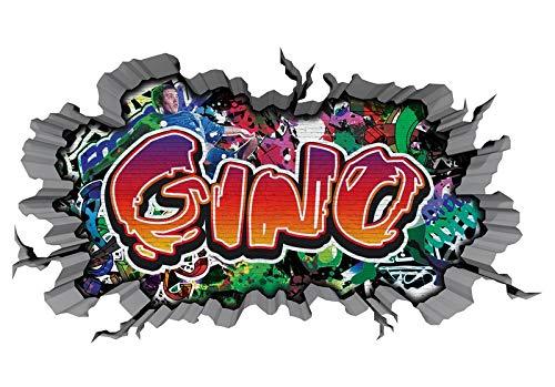 3D Wandtattoo Graffiti Wand Aufkleber Name GINO Wanddurchbruch sticker Boy selbstklebend Wandsticker Jungenddeko Kinderzimmer 11MD047, Wandbild Größe F:ca. 97cmx57cm
