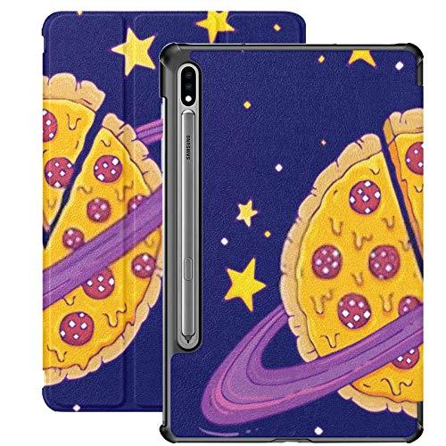 Funda Galaxy Tablet S7 Plus de 12,4 Pulgadas 2020 con Soporte para bolígrafo S, ilustración Vectorial de Pizza Planet de Dibujos Animados Funda Protectora con Soporte Delgado para Samsung
