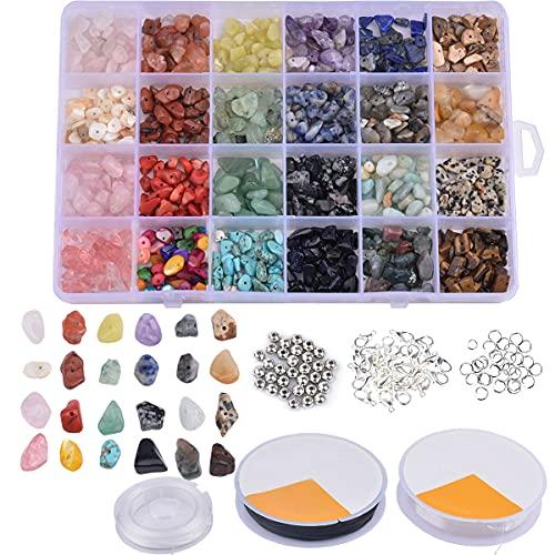 AOFOX 24 Colori 1320pcs Chip di Pietra Irregolare Naturale Kit di Perline di Pietre preziose per Collana Fai-da-Te Braccialetto orecchino Artigianato di Gioielli