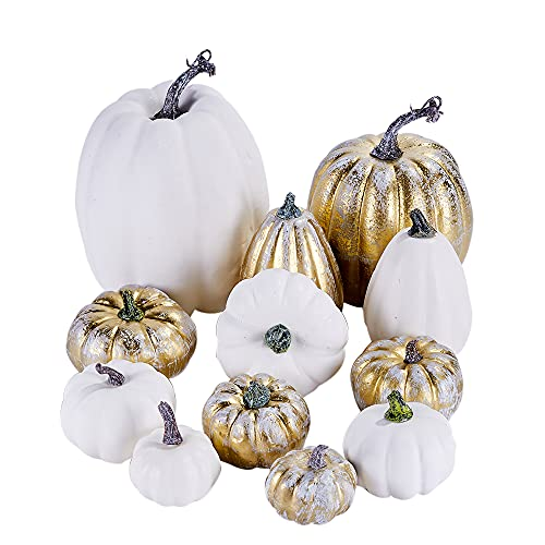 Artmag 12 Pcs Assorted Fall Artificial Pumpkins Large Harvest Frosted Gold Plating and White Pumpkins for Fall Autumn Season Halloween Thanksgiving Holiday Decoration