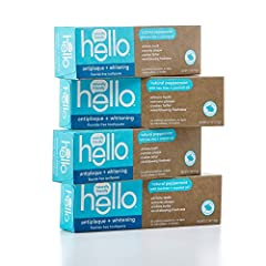 Contains 4- 4.7 ounce tube of hello naturally friendly antiplaque + whitening fluoride free toothpaste. Hello naturally friendly antiplaque + whitening SLS free toothpaste is thoughtfully formulated with epically refreshing farm grown peppermint, tea...