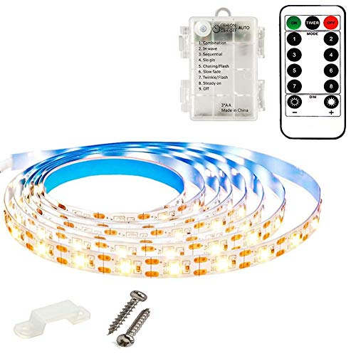 echosari 9.8FT 90Led Strip Lights Battery Powered with Remote, 8 Modes, Timer, Dimmable, Self-Adhesive, Cuttable, Waterproof Strip Lights Led Warm White for Bedroom Kitchen Cabinet Living Room Decor