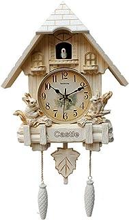 YXIUER Cuckoo Clock Living Room Pendulum Clock Craft Art Clock, Creative Fashion Living Room Quartz Clock, Chime Mute, Vin...