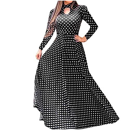 Zomerjurk voor dames, lange mouwen, bandage print, O-hals, hoge taille, knoopsluiting, casual, lange jurk met riem, strandfeest